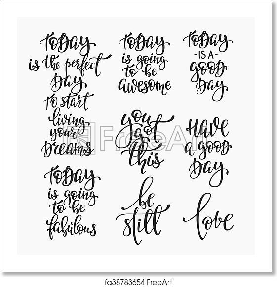 Free Art Print Of Positive Life Inspiration Quotes Lettering Set