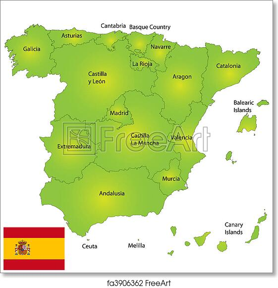 Detailed Map Of Spain.Free Art Print Of Spain Map