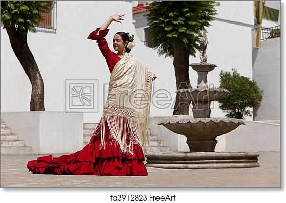 b57b24540b792 Free art print of Traditional Woman Spanish Flamenco Dancer In Red Dress.  Woman traditional Spanish Flamenco dancer dancing in a red dress and cream  shawl ...