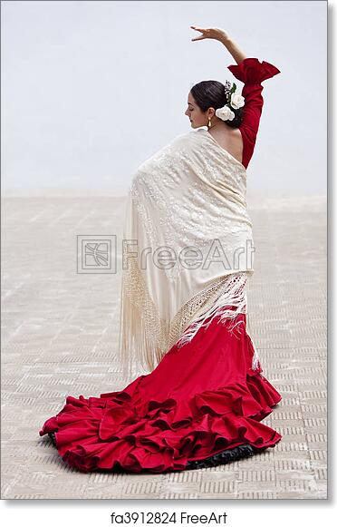 e4e383d55c462 Free art print of Traditional Woman Spanish Flamenco Dancer In Red Dress.  Woman traditional Spanish Flamenco dancer dancing outside in a red dress  with a ...