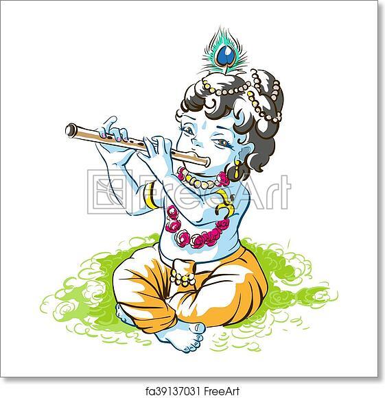 Free art print of God Krishna Janmashtami