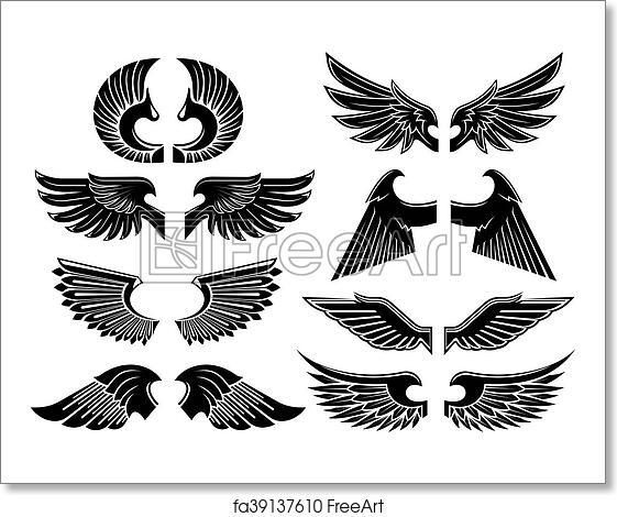 Free Art Print Of Angel Wings Black Heraldic Symbols