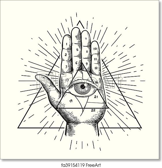 dfb78c8a8df9a Free art print of Hipster illustration with sunburst, hand, and all seeing  eye symbol nside triangle pyramid. Eye of Providence. Masonic symbol.