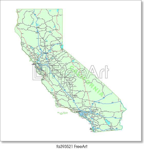 Map Of California Interstates.Free Art Print Of California Map