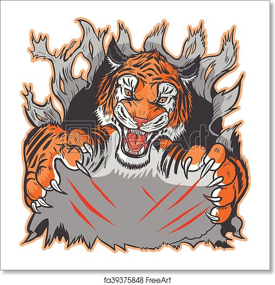 Free Art Print Of Tiger Mascot Ripping Out Template Cartoon Clip