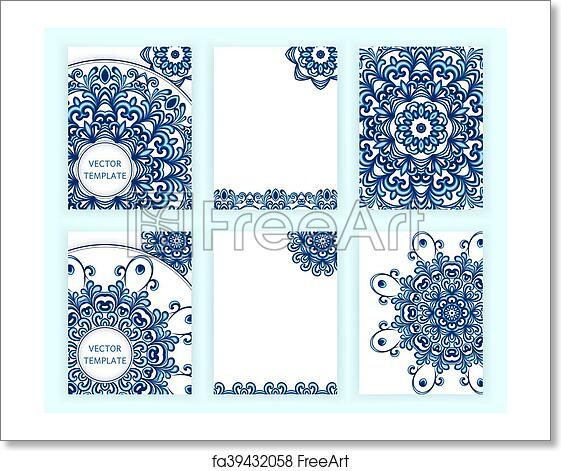 Free Art Print Of Templates For Flyer Banner Brochure Invitation Placard Poster Greeting Card Abstract Backgrounds With Mandalas In Gzhel