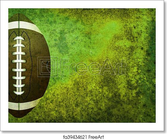 Free Art Print Of Textured American Football Field Background With Ball