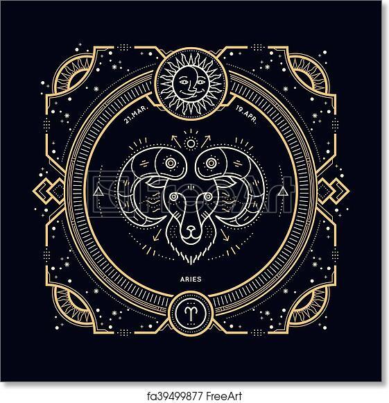 6eb1c1f84 Free art print of Vintage thin line Aries zodiac sign label. Retro vector  astrological symbol, mystic, sacred geometry element, emblem, logo.