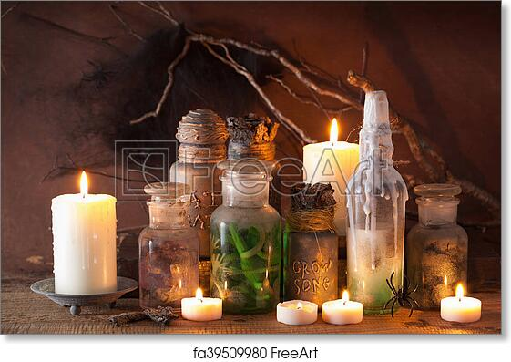 Free art print of Witch apothecary jars magic potions halloween