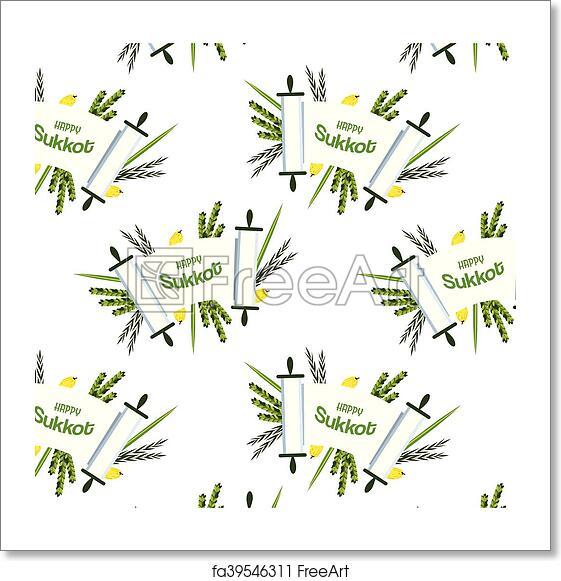 Free Art Print Of Pattern For Jewish Holiday Sukkot Torah With