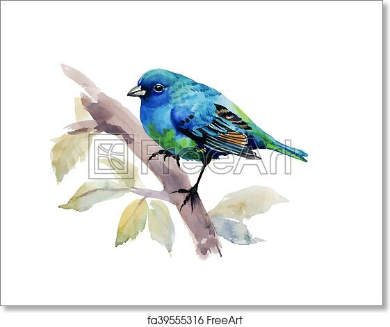 Free Art Print Of Exotic Bird On Tree Branch On White Background Watercolor Illustration
