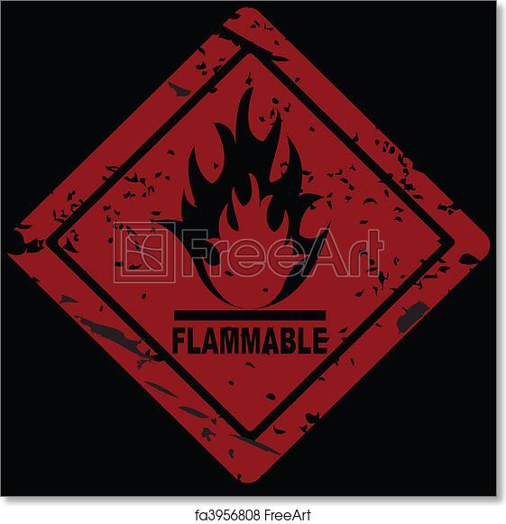 Free Art Print Of Flammable Fire Hazard Warning Symbol Freeart