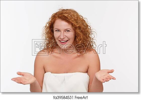 Free Art Print Of Cunning Mature Woman Portrait Of Cunning Mature Of Middle Aged Woman Inwhite Dress Posing Isolated On White