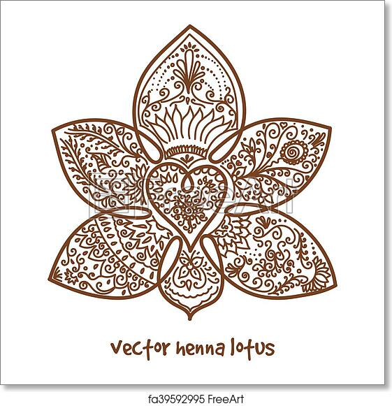 Free Art Print Of Tattoo Henna Lotus Vector Abstract Lotus Of