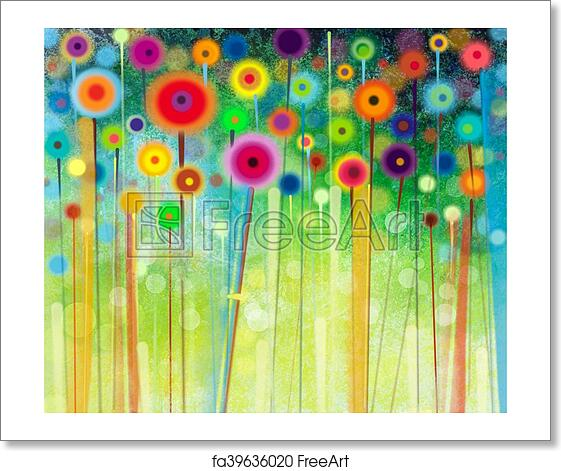 free art print of abstract flower watercolor painting abstract
