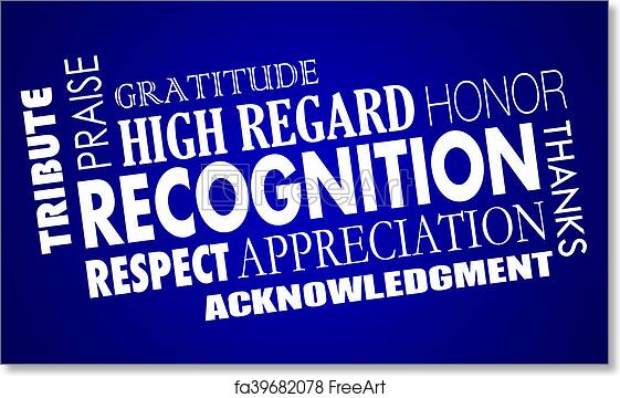 free art print of recognition appreciation praise word collage 3d