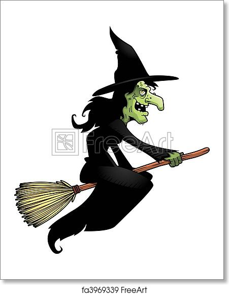 Free art print of Witch Broomstick. A cartoon witch flying ...
