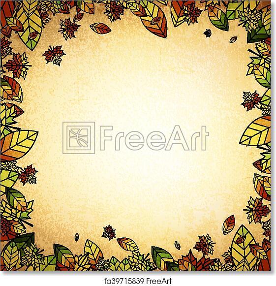 free art print of autumn leaf vintage border multicolored autumn
