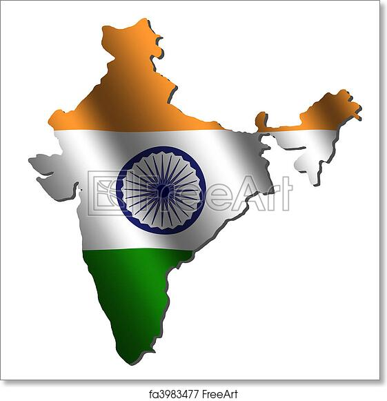 India Map Flag.Free Art Print Of India Map Flag India Map With Rippled Flag On