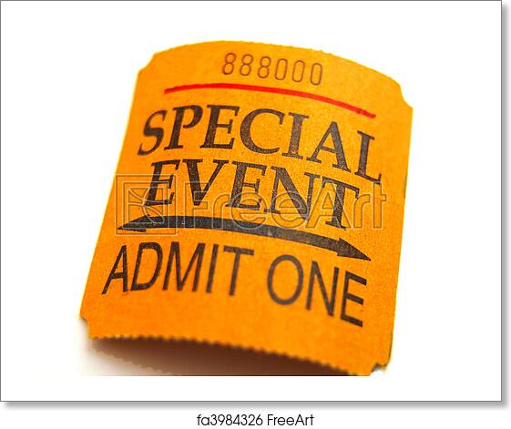 free art print of special event ticket closeup isolated on white