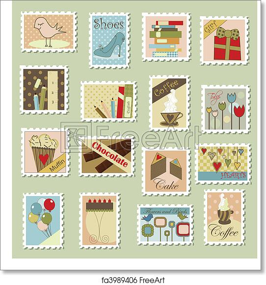 photo regarding Printable Postage Stamps titled Cost-free artwork print of Major mounted of postage stamps