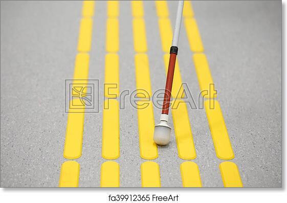 Free art print of Blind pedestrian walking on tactile paving