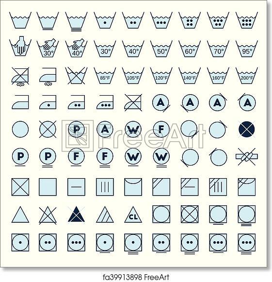 Free Art Print Of Laundry Symbols Line Design Laundry Symbols Line