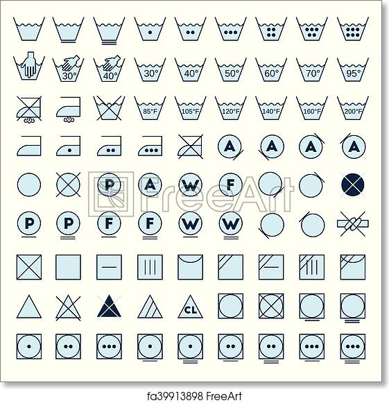 photograph regarding Printable Laundry Symbols titled No cost artwork print of Laundry symbols line style and design