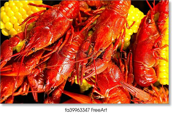 picture regarding Crawfish Boil Invitations Free Printable called No cost artwork print of Crayfish. Creole design and style crawfish boil serving with corn and potato