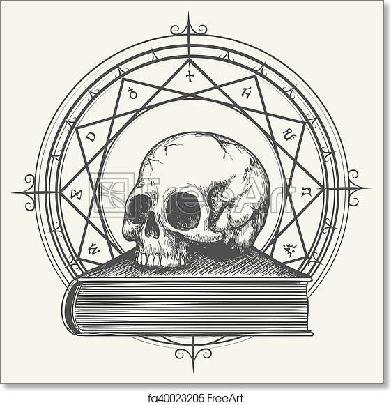 Free art print of Magic book sketch with skull