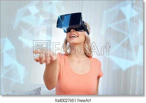 Free art print of Woman in virtual reality headset or 3d glasses
