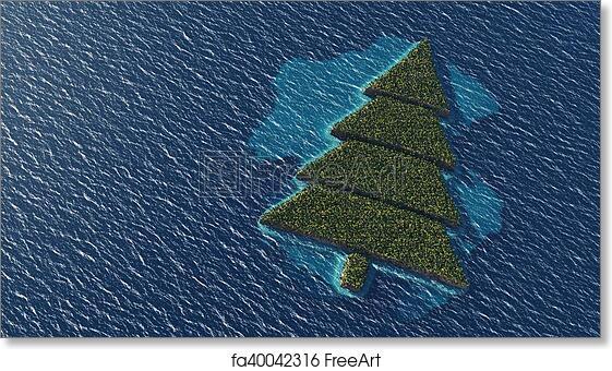 Island Christmas Tree.Free Art Print Of Christmas Tree Shaped Tropical Island