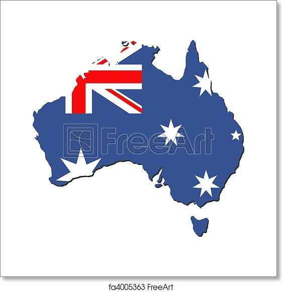 Australia Map And Flag.Free Art Print Of Australia Map Flag