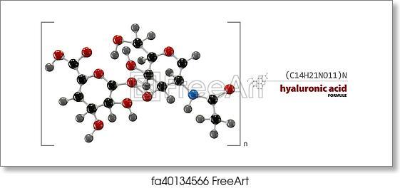 Free art print of Hyaluronic acid chemical formula, molecule structure,  medical illustration