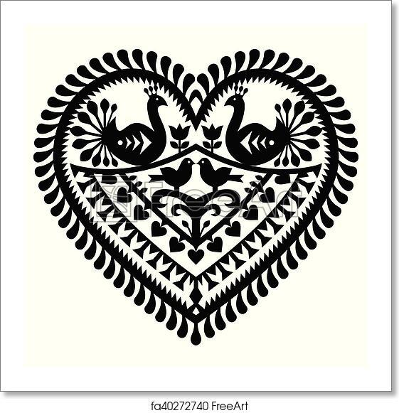 Free art print of Polish folk art heart pattern. Vector