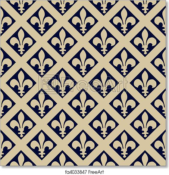 free art print of seamless fleur de lys pattern repeating