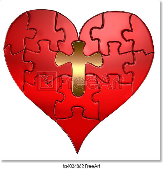 free art print of heart and cross puzzle orthographic puzzle of a
