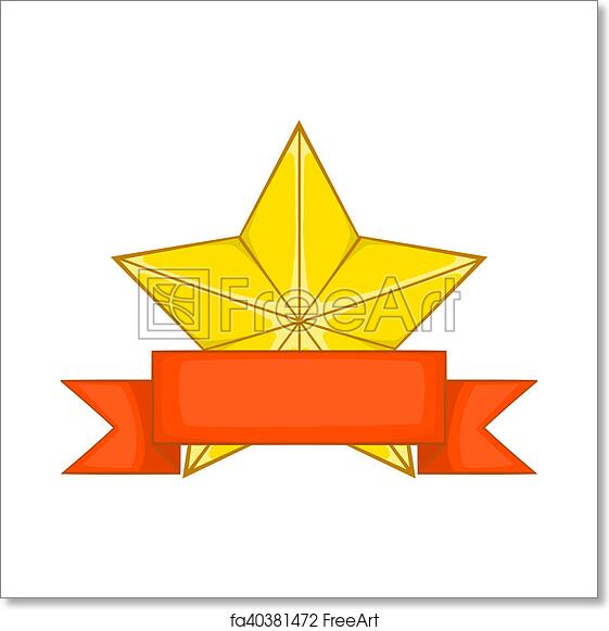 Free Art Print Of Gold Star Award With Ribbon Icon Cartoon Style