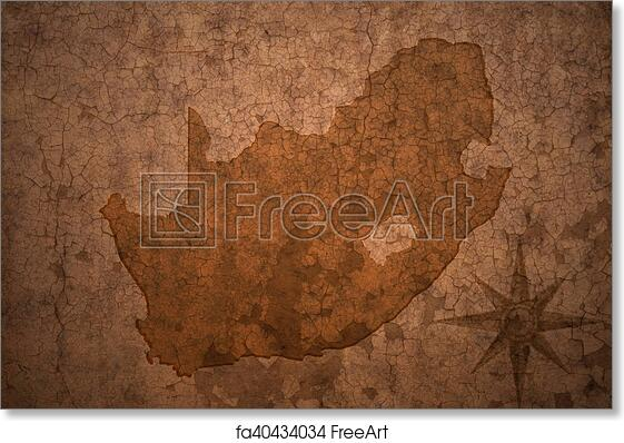 Africa Map Background.Free Art Print Of South Africa Map On A Old Vintage Crack Paper