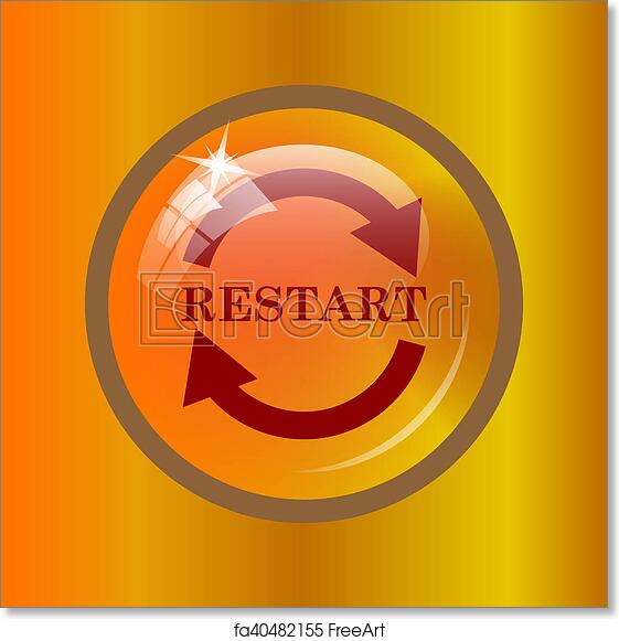free art print of erp icon restart icon internet button on colored