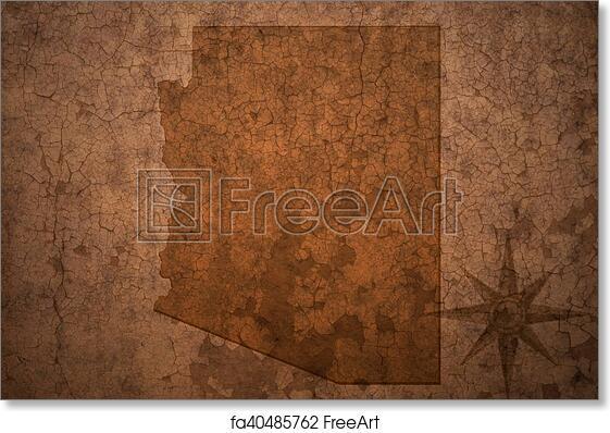 Arizona State Map Free.Free Art Print Of Arizona State Map On A Old Vintage Crack Paper