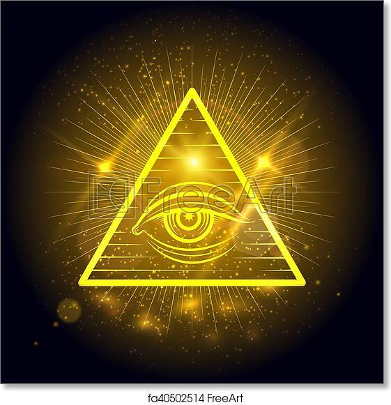 Free Art Print Of Masonic Eye On Golden Shining Background