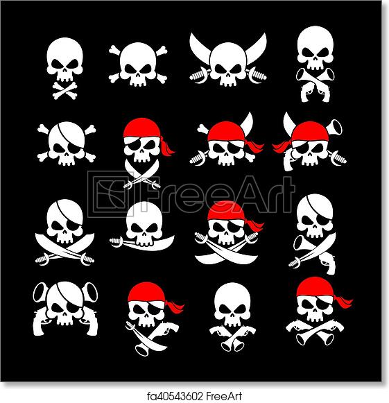 photo relating to Pirate Flag Printable referred to as Free of charge artwork print of Jolly Roger. Pirate flag. Skull and crossbones. skeleton brain inside of sling. Swords and guns. Planning black flags corsairs. Fastened Banner