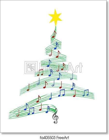 Christmas Carol Music.Free Art Print Of Carol Music Christmas Tree