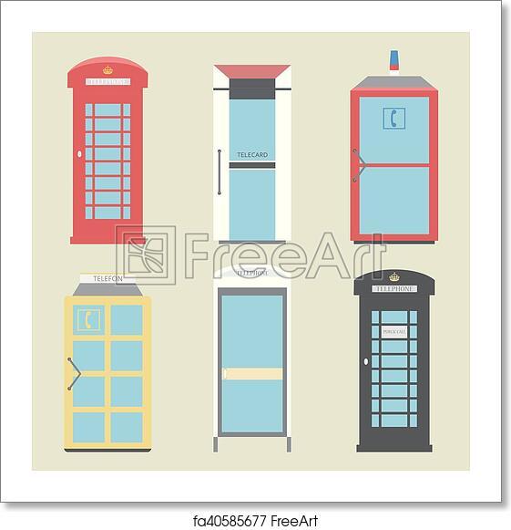 Free art print of Set of 9 United Kingdom Telephone Boxes from England,  Scotland and Ireland flat London box, British telegraph