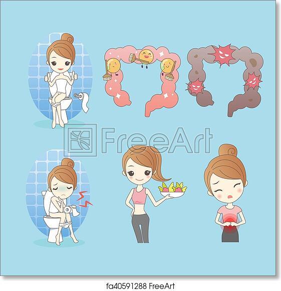 Free Art Print Of Cartoon Woman With Constipation Cartoon Woman With Constipation Great For Your Design Freeart Fa40591288