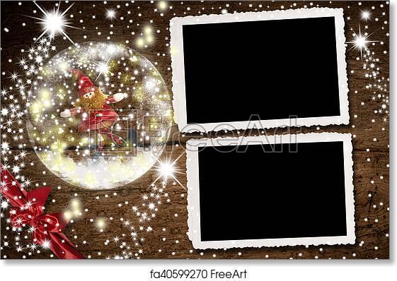 Free Art Print Of Christmas Photo Frames For Two Photos Christmas