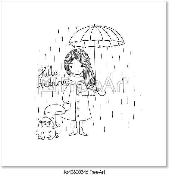 Free Art Print Of Beautiful Little Girl And A Cute Cartoon Pug Under An Umbrella
