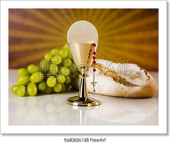Free art print of Eucharist symbol of bread and wine ...