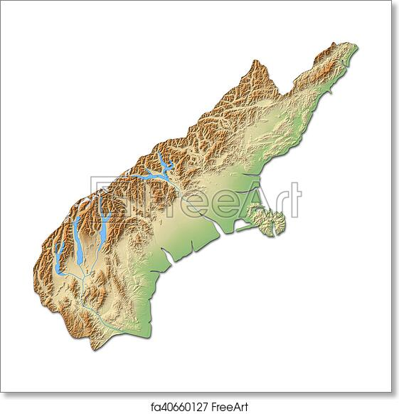3d Map Of New Zealand.Free Art Print Of Relief Map Canterbury New Zealand 3d Rendering